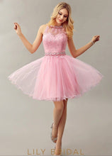 Tulle Keyhole Back Sleeveless Cocktail Dress With Applique