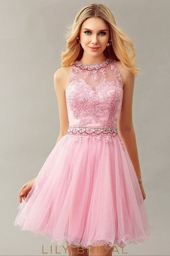Pink Tulle Lace Envelope Back Sleeveless Short Cocktail Dress
