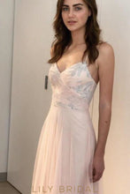 Pink Sleeveless V-Neckline Sequins Floor Length Bridesmaid Dress