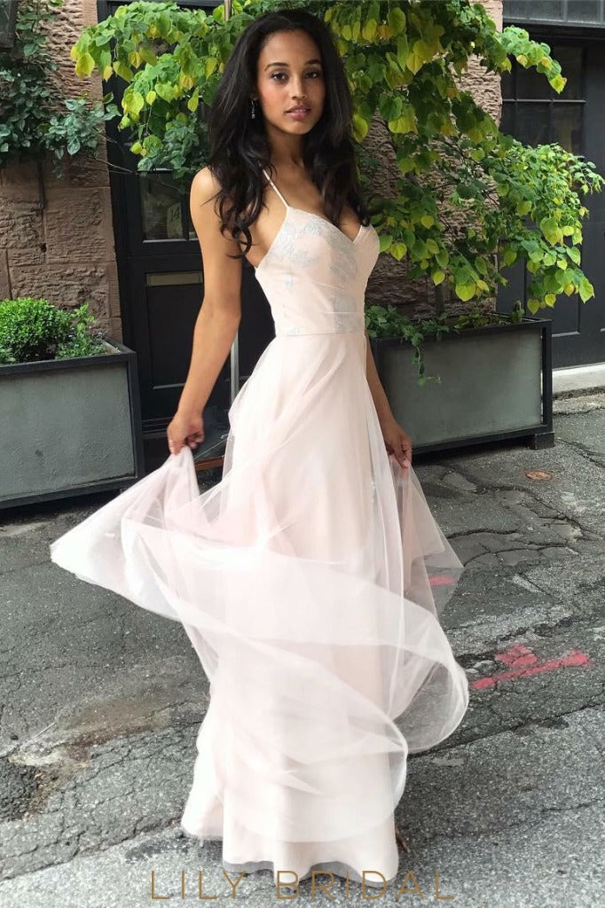 Pink Tulle Sleeveless V-Neckline Sequins Floor Length Bridesmaid Dress