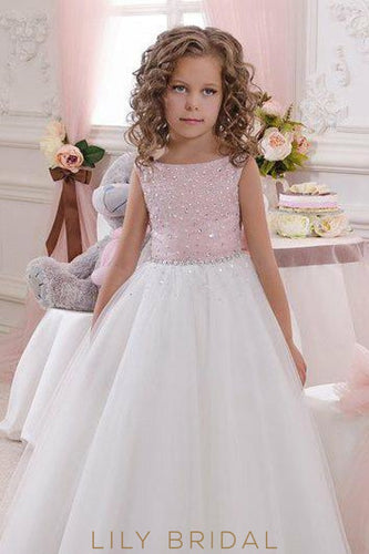 182de1013c3 Bateau Beaded A-Line Floor-Length Tulle Flower Girl Dress With Bowknot