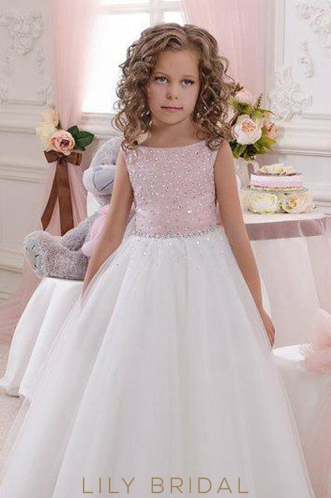Bateau Beaded A-Line Floor-Length Tulle Flower Girl Dress With Bowknot