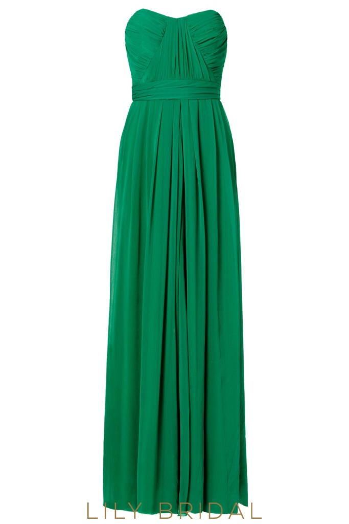 Pleated Hunter Green A-Line Sweetheart Strapless Bridesmaid Dress