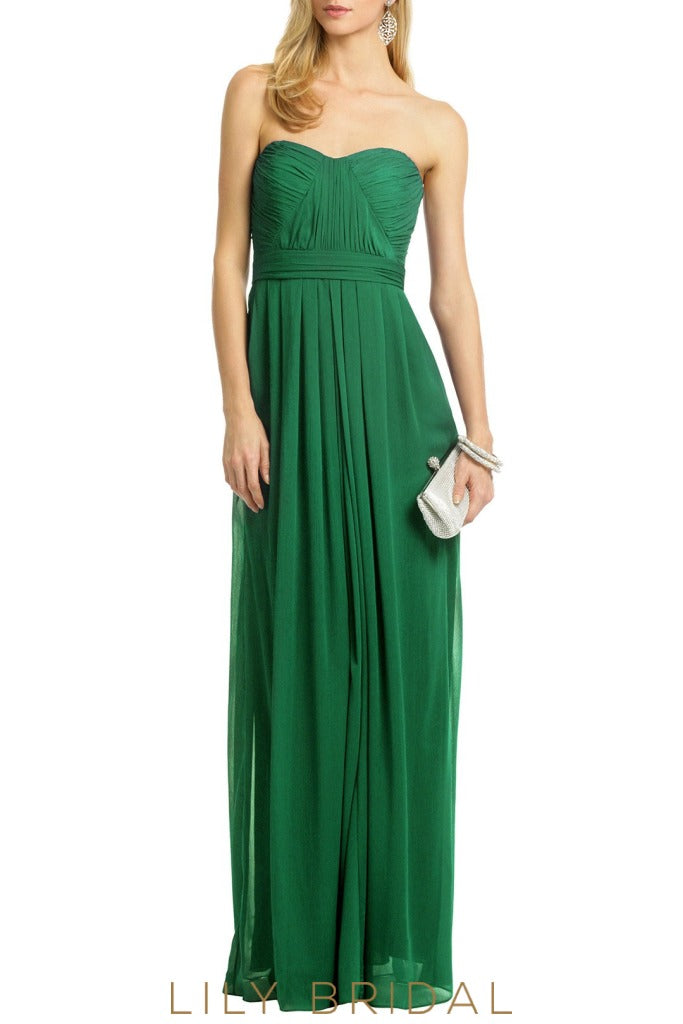 Pleated Hunter Green Chiffon A-Line Sweetheart Strapless Bridesmaid Dress