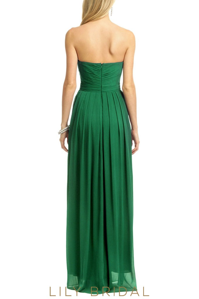 Pleated Hunter Green Chiffon A-Line Strapless Bridesmaid Dress