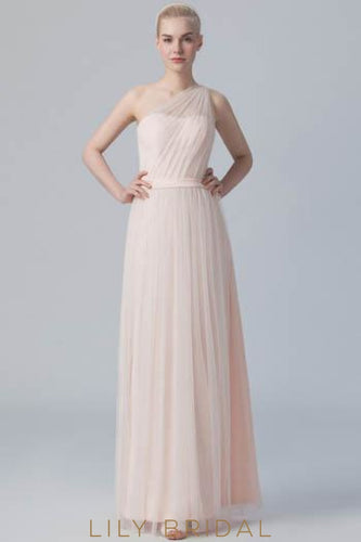 Pleated One-Shoulder Floor-Length Tulle Satin Bridesmaid Dress