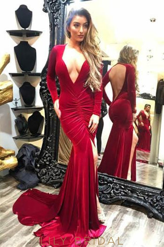 Plunge Neck Long Sleeves Open Back Long Solid Ruched Slit Mermaid Prom Dress