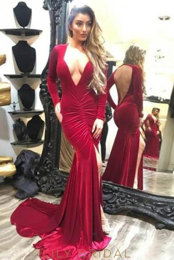 Plunge Neck Long Sleeves Open Back Long Solid Slit Ruched Mermaid Evening Dress