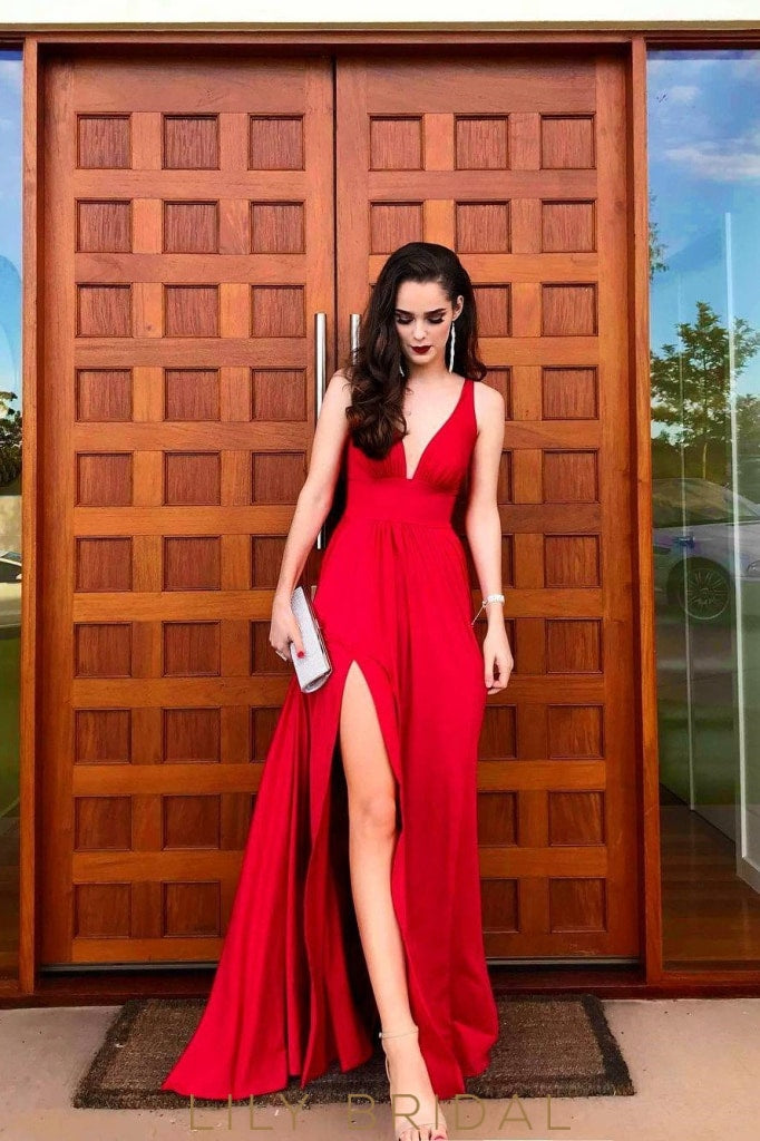 Elegant Plunging Neck Sleeveless Floor-Length Solid Red Slit Satin Prom Dress
