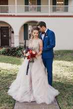 Plunging V-Neckline Tulle Ball Gown Wedding Dress Glittering Beads
