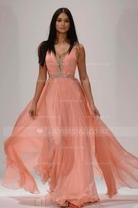Plunging V-Neck A-Line Floor-Length Chiffon Evening Dress With Beads
