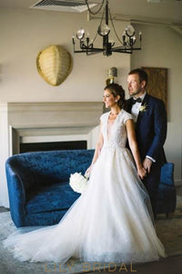 Plunging V-Neck Lace Tulle Beach Wedding Dress With Beads