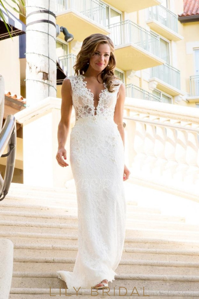 plunging-v-neck-mermaid-illusion-lace-wedding-dress-with-sweep-train