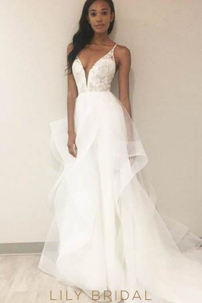 Plunging V Neck Spaghetti Strap Ruffled Organza Wedding Dress With