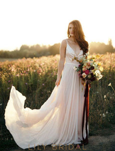 plunging-v-neck-spaghetti-straps-simple-chiffon-wedding-dress-beach