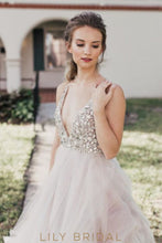 V-Neckline Tulle Ball Gown Wedding Dress with Glittering Beads