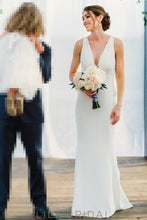 Plunging V-Neckline Ivory Wedding Dress
