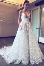 Plunging V-Neckline Spaghetti Straps White Wedding Dress with Floral Lace Appliques