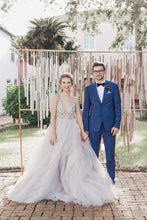 Plunging V-Neckline Ball Gown Wedding Dress with Glittering Beads