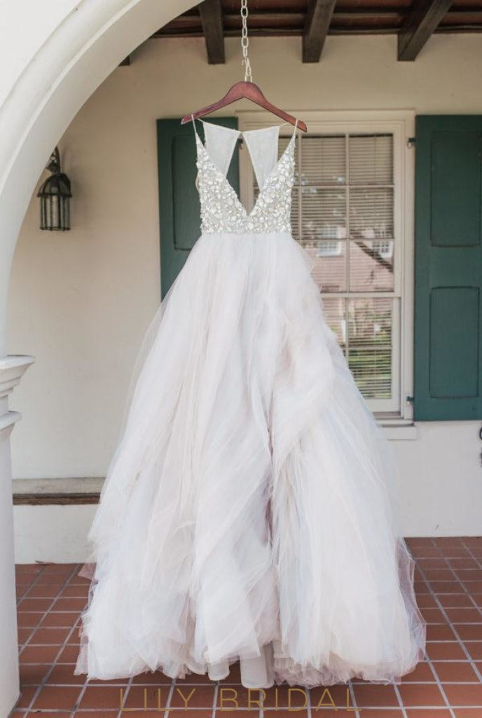 Plunging V-Neckline Tulle Gown Wedding Dress with Glittering Beads