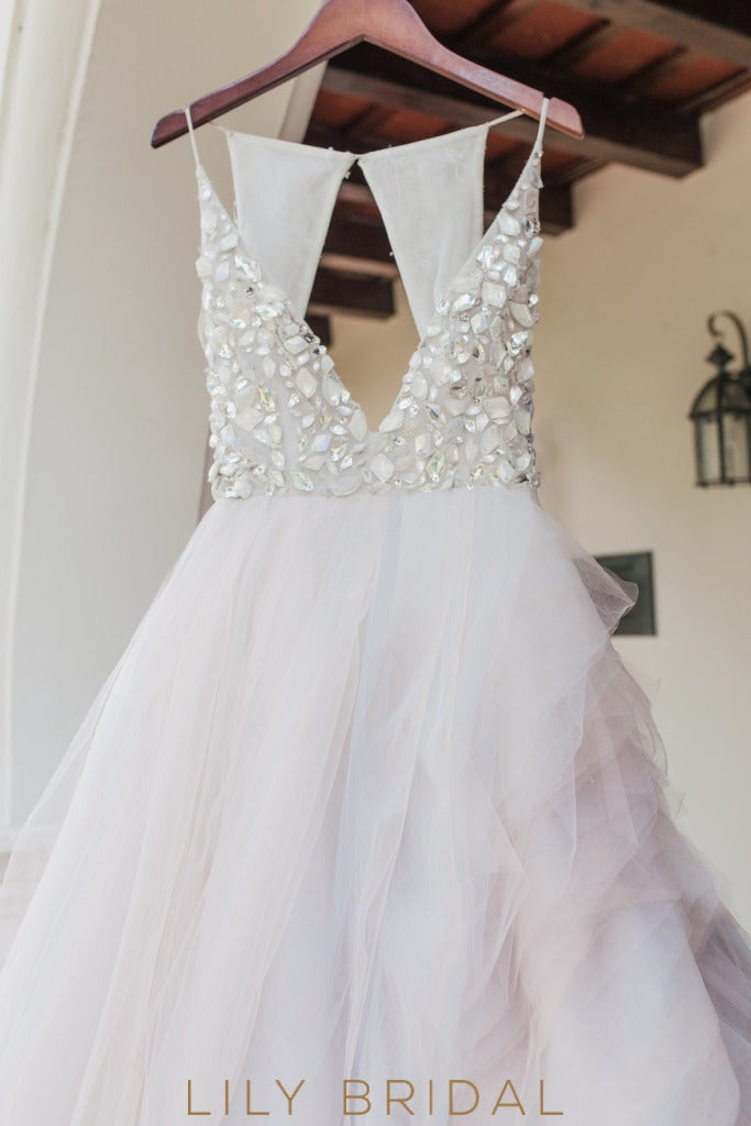 Plunging V-Neckline Tulle Ball Gown with Glittering Beads