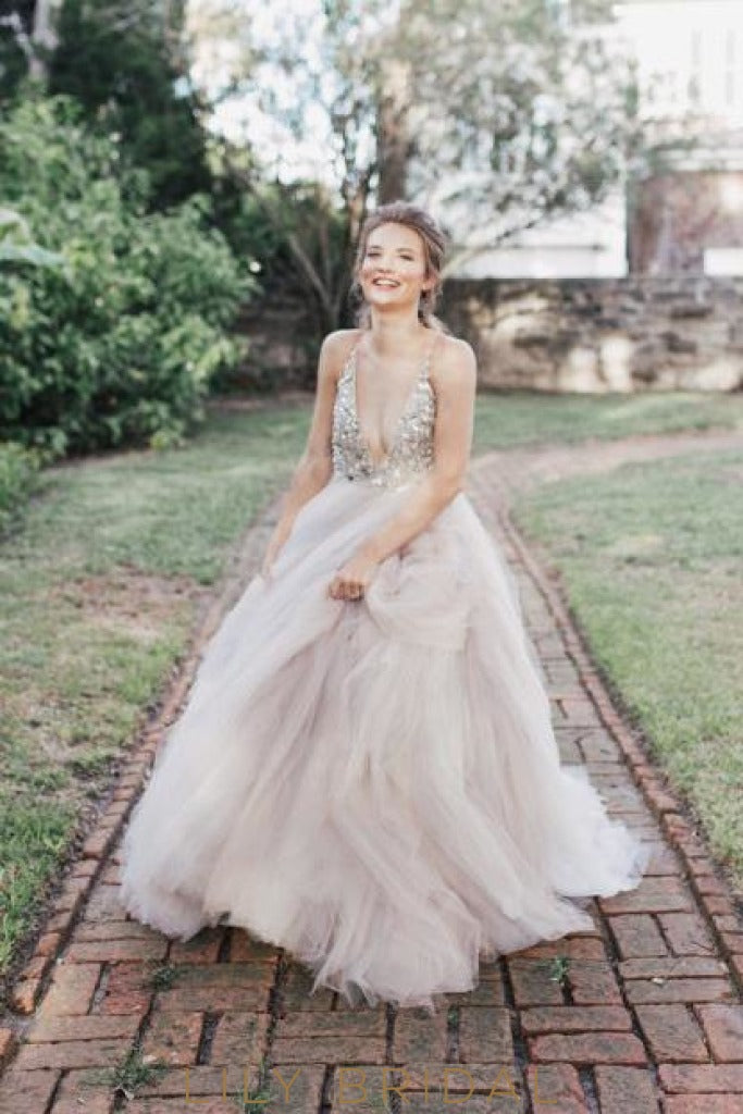 Plunging V-Neckline Tulle Ball Gown Wedding Dress with Glitters