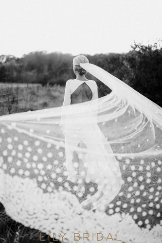 Pretty One Tire Chapel Length Petal Veil