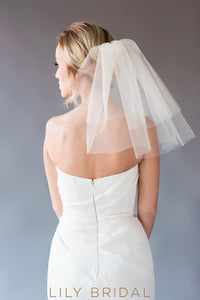 two tier cut edge veil