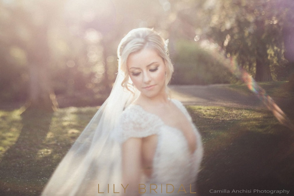 Chapel Scalloped Lace Applique Edge One Layer Wedding Veil