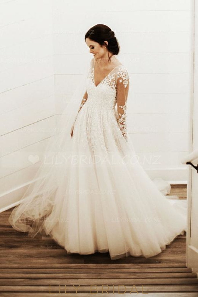 Prince Ivory Tulle V-Neck Wedding Dress With Sheer Appliqued Bodice