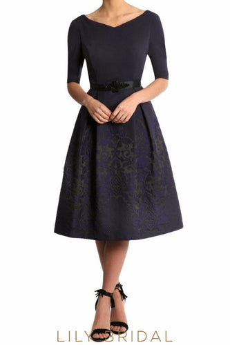 Princess V-Neck 1/2 Sleeve Tea Length Mother of the Bride Dress With Sash