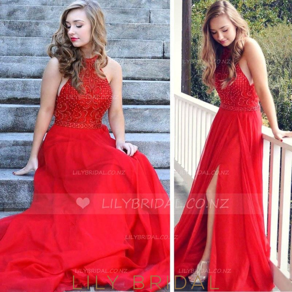 Princess Halter Beaded Long Chiffon Prom Dress With Slit
