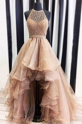 Princess Halter Organza Asymmetrical Prom Dress With Beaded Bodice