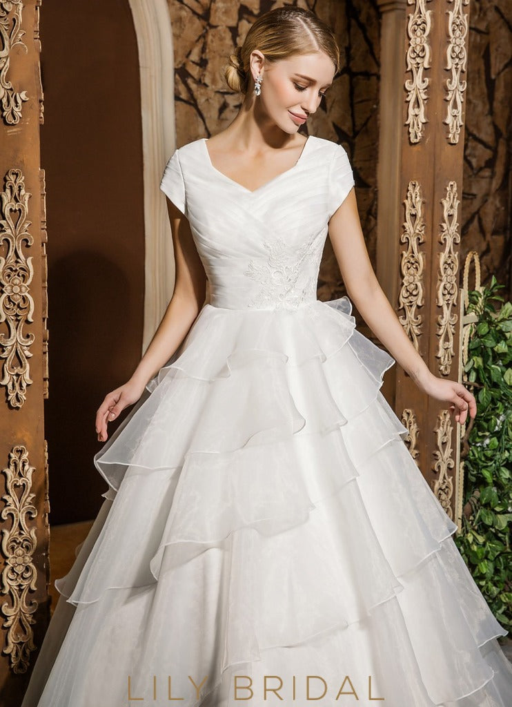 Princess Organza V-Neckline Ball Gown Cap Sleeve Wedding Dress