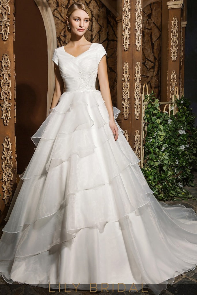 Princess Ivory Organza V-Neckline Ball Gown Cap Sleeve Wedding Dress