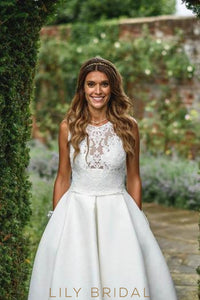Princess Jewel Neck Court Train Satin Bridal Dress With Illusion Lace Bodice