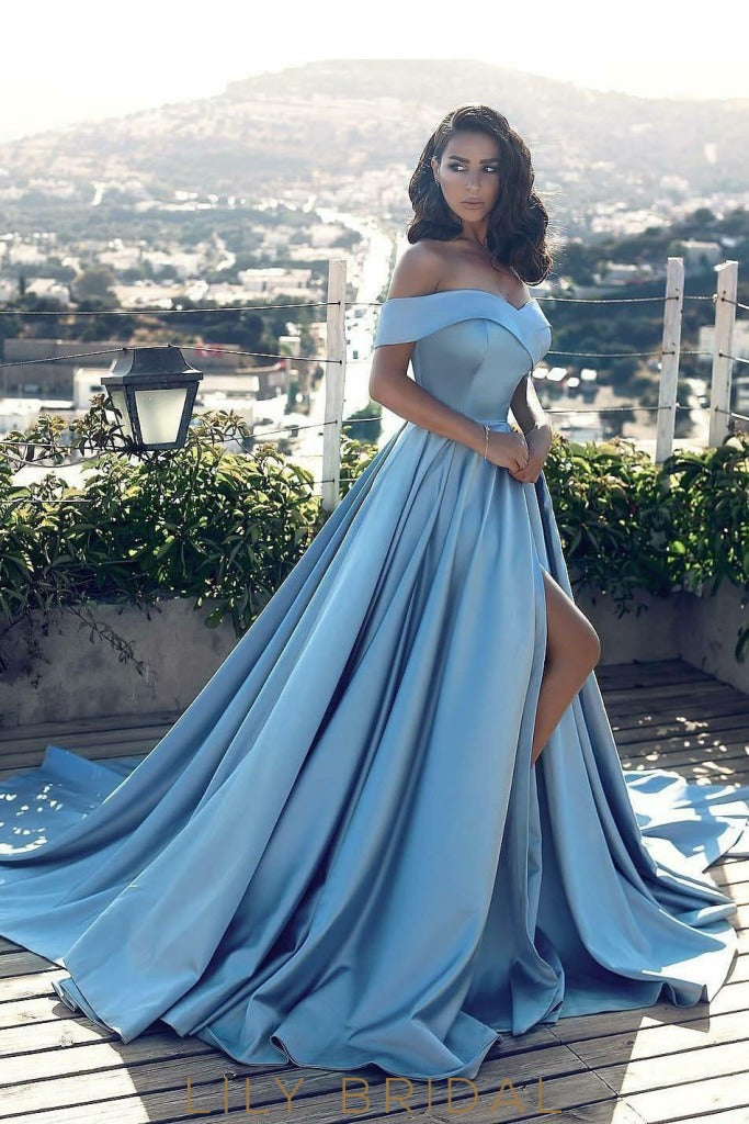 74ac31d484 Princess Blue Ball Gown Satin Off The Shoulder Prom Dress With Side Slit
