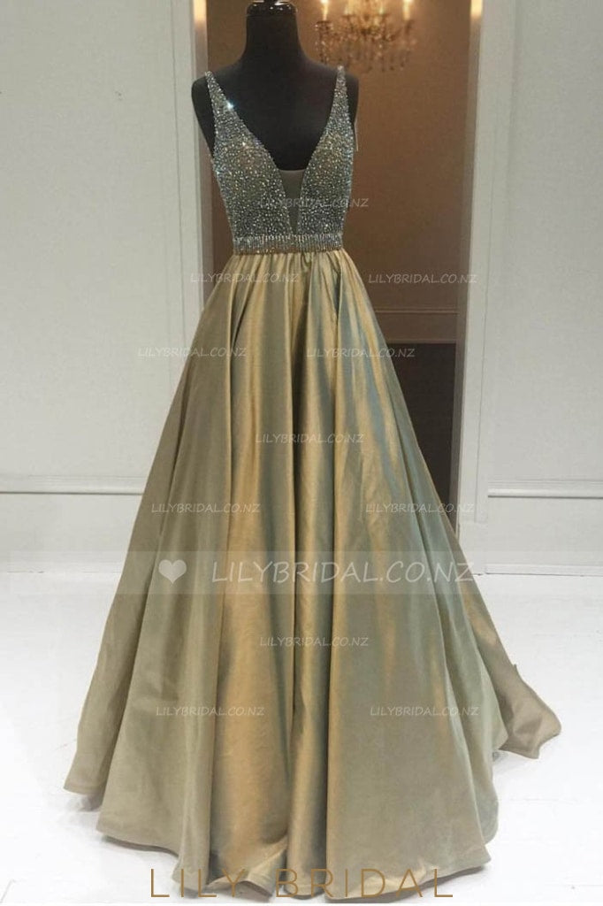 Princess Low V-Neck Long Prom Dress With Crystal Beaded Bodice