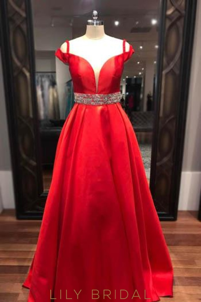Princess Off-The-Shoulder Long Prom Dress With Crystal Beaded Belt