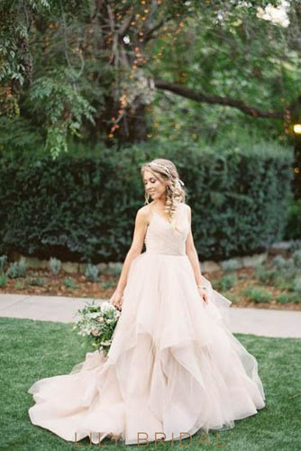 Princess Open Back Spaghetti Strap Layered Organza Wedding Dress With Ruffles