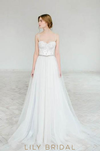 Princess Spaghetti Strap Sweetheart Neck Tulle Court Train Wedding Dress With Lace Bodice