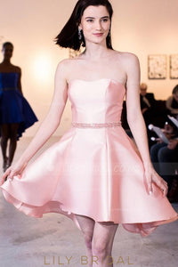 Princess Sweetheart Strapless Satin Cocktail Dress With Crystal Beaded Belt
