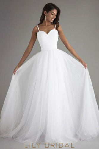Princess Tulle Sweetheart Neckline Bridal Dress With Sweep Train