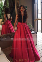 Princess V-Back Floor-Length Charmeuse Prom Dress With Bowknot & Pockets