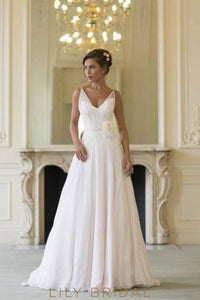 Princess V-Neck Floor-Length Chiffon Wedding Dress