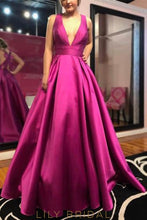 Princess V-Neck Fuchsia Charmeuse Long Prom Dress