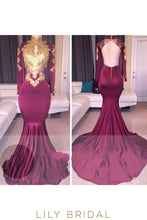 Grape Open Back High Neck Long Sleeve Appliqued Sweep Train Prom Dress