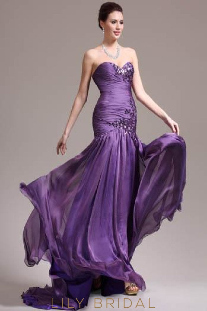 Purple Strapless Sweetheart Sweep Train Chiffon Evening Dress With Sequin Applique