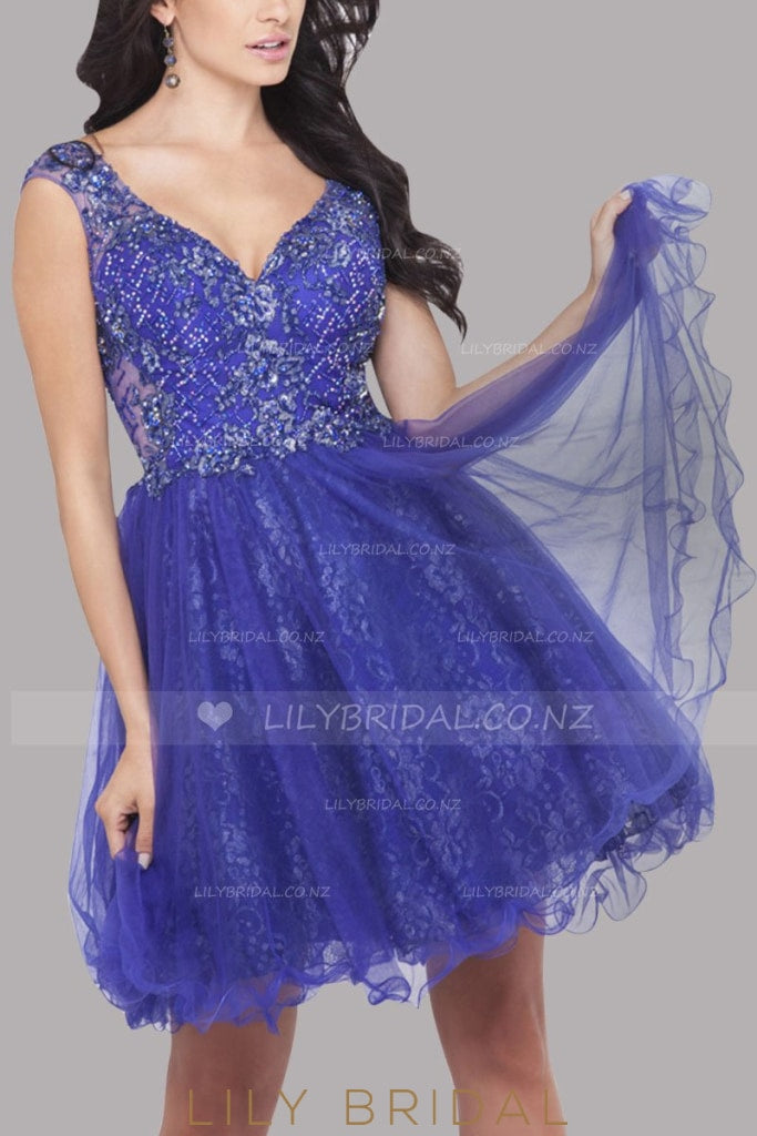 Purple V-Neck Sleeveless Curly Hemline Tulle Cocktail Dress With Beads