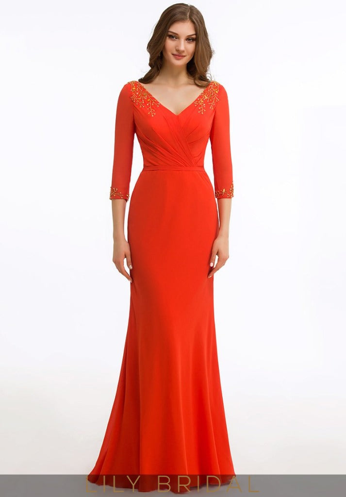Jersey V-Neck 3/4 Sleeve Floor-Length Mother of the Bride Dress with Applique